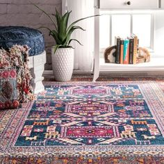 nuLOOM Bohemian Tribal Navy Rug (5' x 7'5) | Overstock.com Shopping - The Best Deals on 5x8 - 6x9 Rugs