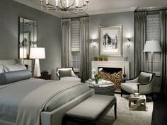 Today's trendiest neutral, gray, is perfect for a bedroom. This subtle shade can appear either warm or cool and creates a restful backdrop in a traditional, modern, cottage or any style bedroom retreat.