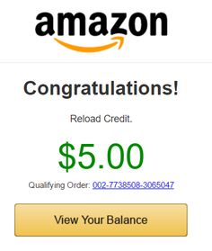 Shopping on Amazon?  Be sure to see if you have this FREE $5 offer when you reload your balance~~~>https://goo.gl/41saKi