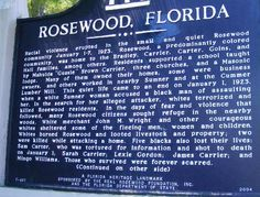 """Racial violence erupted in the small and quiet Rosewood community January 1-7, 1923. Rosewood, a predominantly colored [sic] community, was home to the Bradley, Carrier, Carter, Goins, and Hall families, among others. Residents supported a school taught by Mahulda """"Gussie"""" Brown Carrier, three churches, and a Masonic lodge. Many of them owned their homes, some were business owners, and others worked in nearby Sumner and at the Cummer Lumber Mill. This quiet life came to an end on Jan 1…"""