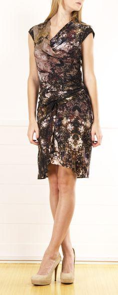 Gravel Print Drape Dress