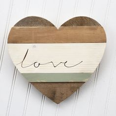 Reclaimed Wood Heart Cutout with Love text Hand Cut Love