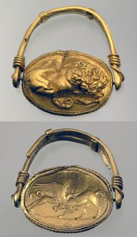 Signet ring with lion and griffin  4th century BCE.  Denysova Mohyla tumulus near Ordzhenikidze, Dnipropetrovsk Region  Excavations 1975.