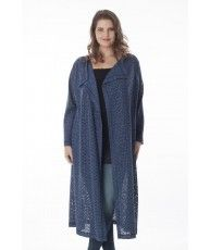 Straight cut long cardigan in jeansblue, made from a fine open knit jersey