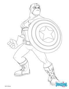 Voici un coloriage inédit des Avengers. Voici un dessin de Captain Americe qui plaira à tous les fans d'Avengers. Pour plus de contenu rendez-vous sur hellokids.com