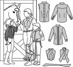Womens & Girls Riding Shirts with Choker, Stock Tie, & Bibs Pattern