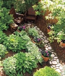 Shade Gardens, hopefully the maple tree behind the fence gets big fast, this is so cute and relaxing - Shade Gardening