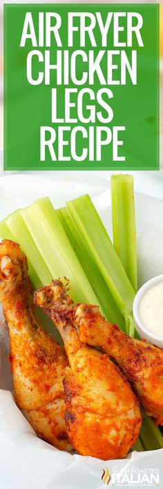 Air fryer chicken legs can be served for a weeknight dinner or game day snack. Create a mouthwatering marinade with just 4 simple ingredients! Healthy Grilled Chicken Recipes, Chicken Leg Recipes, Recipe Using Chicken, Chicken Legs, Air Fry Recipes, Fun Easy Recipes, Delicious Dinner Recipes, Real Food Recipes, Salad Recipes