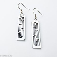 Earrings Silver, Whakarare rectangle Silver Plate, Silver Earrings, Plating, Carving, Bronze, Detail, Pattern, Style, Maori