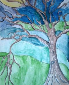 Emily Carr inspired tree art - use a pencil to draw outline, then trace over with black sharpie. Use a white crayon to add designs, then finish with a water colour wash.
