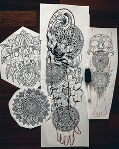 when i draw for my books or prints it is always pen and paper. but for my everyday heavy schedule i need a tool that will make my… Dotwork Tattoo Mandala, Geometric Mandala Tattoo, Mandala Tattoo Sleeve, Skull Sleeve Tattoos, Mandala Tattoo Design, Tattoo Design Drawings, Best Sleeve Tattoos, Tattoo Ink, Geometric Tattoo Sleeve Designs