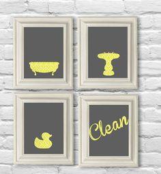 yellow damask and gray bathroom