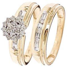 1/3 Carat Diamond Bridal Wedding Ring Set 10K Yellow Gold