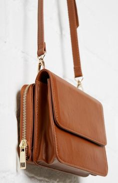 MMS Leather Structured Crossbody Purse in Cognac | DAILYLOOK
