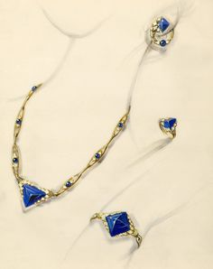 Sapphire and Diamond Suite by Van Cleef & Arpels. Paris, circa 1920s.