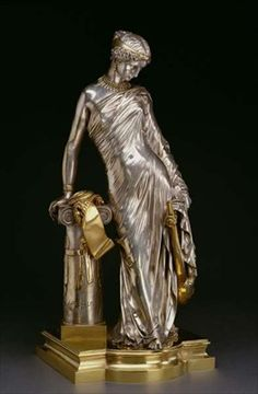 Figure of Sappho Standing, 1848 (silvered and gilt bronze) Swiss.