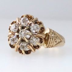 Classic Victorian Old Mine Cut Floral Motif 14k Rose Gold Ring | Antique and Estate Jewelry | Jewelry Finds com SOLD: 4/8/15
