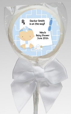 Little Doctor On The Way - Medical Personalized Baby Shower Lollipop Favors  Give your invited patients a custom medical themed lollipop if they are good at the baby shower!