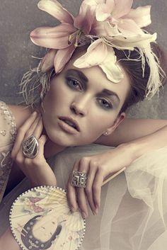 L& on Behance - Romantic Flower Crown ~ Portrait Photography, Fashion Photography, Romantic Flowers, Foto Art, Belle Photo, Flower Crown, Her Hair, Vintage Outfits, Hair Accessories