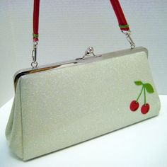 White retro glitter purse with cherries. www.adorepurses.com--Love Color, Style & Quality of Vintage everything including Dooney Bourke Bags