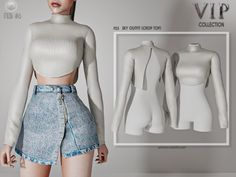 sky outfit (crop top) p23 by busra-tr-FREE - Madame Sims 4