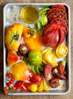 heirloom tomatoes.  Dying for it to be warm enough to plant these! The purple passion tomatoes are the best!