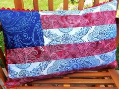 Patriotic Red White and Blue Flag Pillow by AStitchinTime72