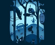 Magical Gathering. Cool tshirt for fans of Totoro, Catbus and Princess Mononoke…