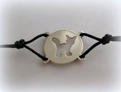 Silver cat bracelet by Minicsiga on Etsy