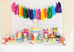 Rainbow + Chevron Arts and Crafts Party // Hostess with the Mostess®  Colorful rainbow party ideas and inspiration-- invitations, decorations, party favors, cake, cupcakes, dessert table, candy buffet, printables Chevron Birthday, Art Birthday, Rainbow Birthday Party, Rainbow Parties, Birthday Party Themes, Fourth Birthday, Kid Parties, Birthday Ideas, Party Desserts