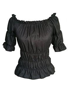 Black Gothic Gypsy Medieval Off Shoulder Top Blouse (L/XL uk8-12) Steampunk Goths http://www.amazon.co.uk/dp/B00TKENV08/ref=cm_sw_r_pi_dp_UizAvb1PDPERD