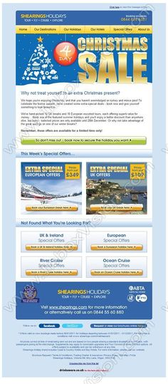 Company:    Shearings Holidays   Subject:    Enjoy Extra Special Deals in Our Christmas Sale...A gift from us to you              INBOXVISION is a global database and email gallery of 1.5 million B2C and B2B promotional emails and newsletter templates, providing email design ideas and email marketing intelligence http://www.inboxvision.com/blog