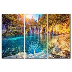 3 Pieces Modern Canvas Painting Wall Art the Picture Turquoise Water and Sunny Beams in Plitvice Lakes National Park Croatia Landscape Mountain  Lake Print on Canvas Giclee Artwork Wall Decor >>> Click image for more details.