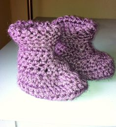 Handmade Crochet Baby Girl Boots with Foldover Cuffs (Purple) on Etsy, $8.99