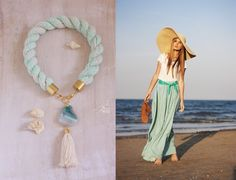 Statement rope necklace with green agate, mint summer style