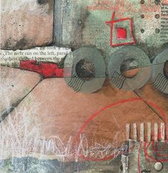 """Laura Lein-Svencner Stone today was Dare....so title is """"Dare I?"""" 8 x 8 collage on watercolor paper. brown envelop left over from a class."""
