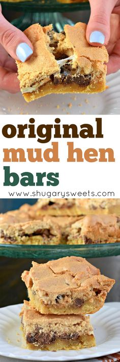 Mud Hen Bars are such a unique treat. Cookie dough, topped with marshmallow and chocolate chips and covered in a brown sugar meringue. DELIGHTFUL.