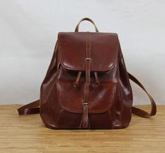Red Brown Handmade leather tote/leather backpack/shoulder bag/leather bag/handmade bag/
