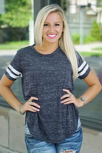 Baseball tee with striped sleeves. Charcoal