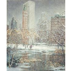 Beautiful Early 20th Century New York in the Snow from Impressionist Painter Guy…