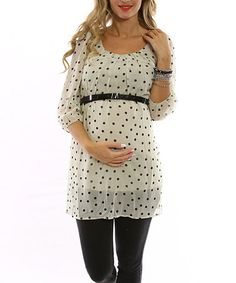 Take a look at this Ivory & Black Polka Dot Belted Maternity Top by Style Mama: Posh Prints on #zulily today!