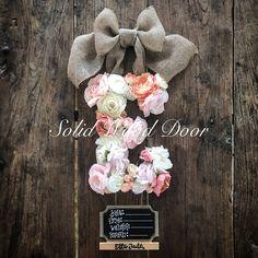 Hospital Door Wreaths, Hospital Door Signs, Hospital Door Hangers, Baby Door Hangers, Initial Door Hanger, Letter Wreath, Peach Baby Shower, Rustic Letters, Babyshower