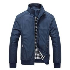 Black \\ Size: Large   Men\'s Fall Winter Casual Jacket Solid Color Stand Collar Jacket Coat