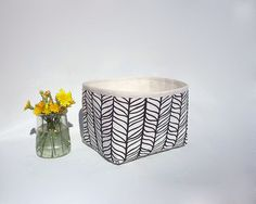 Small storage basket / Fabric basket / Black and white storage bin / Mini fabric…