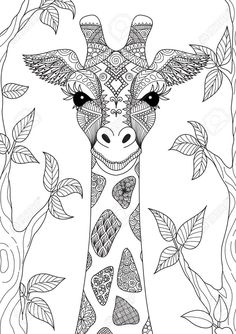 Illustration about Zendoodle design of giraffe head in the forest for adult coloring book page. Illustration of book, face, forest - 88887336 Adult Coloring Book Pages, Cute Coloring Pages, Fairy Coloring, Animal Coloring Pages, Mandala Coloring, Coloring Books, Colouring, Mandalas Painting, Mandalas Drawing