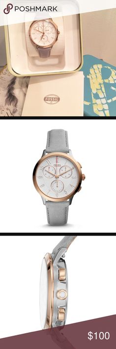 BRAND NEW! Fossil gray leather & rose gold watch This is brand new in the box. Fossil Abilene Chronograph watch. Iron/gray stone leather strap with rose gold-tone bezel. Fossil Accessories Watches