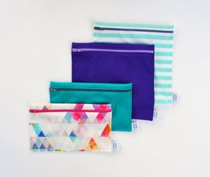 Sac Lunch, Lunch Bags, Snack Bags, Reusable Bags, Triangles, Pink, Etsy, Couture, Green