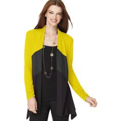 Alfani Petite Long Sleeve Colorblocked Cardigan -  I got this at Macy's a while back. In the picture the top color looks yellow but in person it is more of a green. I like to wear it with black leggings and a long black tank with a chunky necklace.