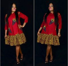 Online Hub For Fashion Beauty And Health: Colorful Plain And Pattern Short Gown Dres. Short African Dresses, Latest African Fashion Dresses, African Print Dresses, African Print Fashion, Short Gowns, Trendy Ankara Styles, Ankara Gown Styles, Ankara Gowns, African Print Dress Designs