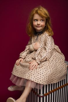 Beige dress with little flowers, fur pompons & blue velour collar. #velour #flower #fur #pompons #beigedress #flowerdress #nudedress #girlsdress #cutedress #tutupeticoat #girlydress #doll #littlegirl #girlswear #girlsdress #dressforgirls #kids #cutekids #fashion #kidsfashion #fashionforkids #beautifuldress #kare #karedesign #red #redhair